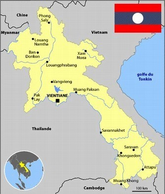 Map of Laos and Mekong region